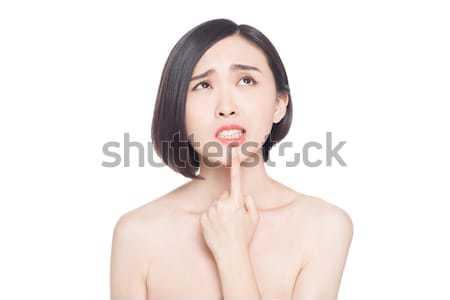 Stockfoto: Chinese · vrouw · gezichtsuitdrukkingen · witte · glimlach · gezicht