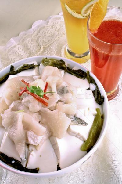 Kínai káposzta filé tányér fehér szemüveg Stock fotó © wxin