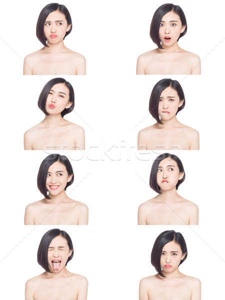 Chinois femme expressions faciales collage différent sourire Photo stock © wxin