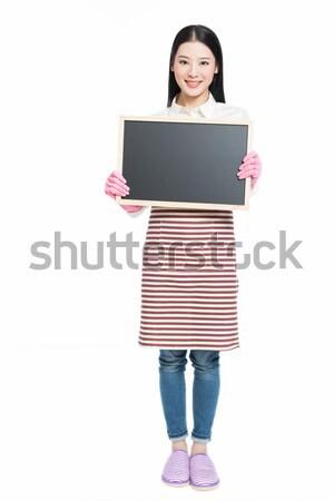 Stok fotoğraf: Kadın · temizlik · tahta · Çin · imzalamak