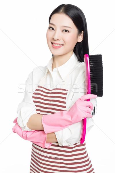 Vrouwelijke schonere foto mooie vrouw schoonmaken huis Stockfoto © wxin