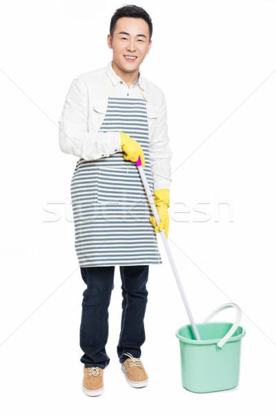 Mannelijke schonere chinese schoonmaken huis man Stockfoto © wxin