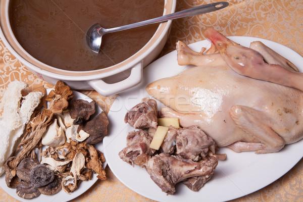 Kínai finom étel egész edény kacsa Stock fotó © wxin