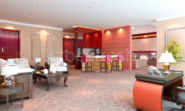 3D デラックス ホテル インテリア レンダリング ストックフォト © wxin