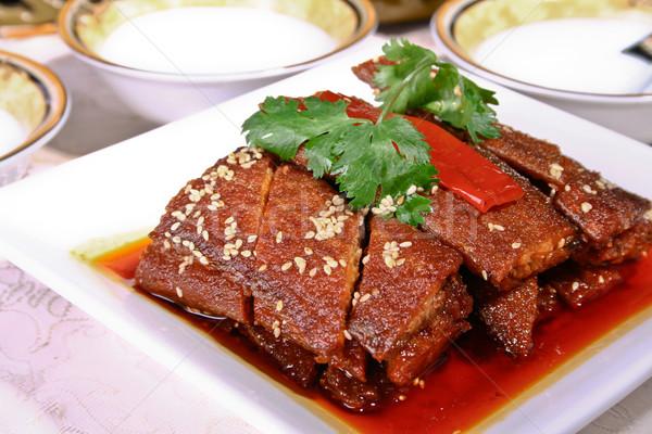 Sült szezám tenger zöld piros hús Stock fotó © wxin