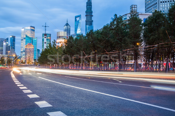 night scenery of the city, the light trails of city traffic Stock photo © wxin