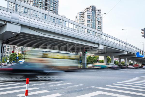 Urbano estradas Xangai auto-estrada hora do rush tráfego Foto stock © wxin