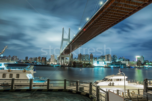 Shanghai urban landscape, Nanpu Bridge Crossing the River Stock photo © wxin