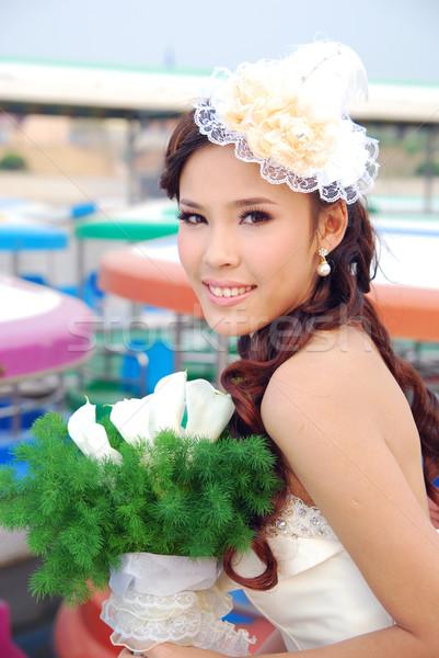 Esküvő képek mosoly boldog fiatal nevetés Stock fotó © wxin