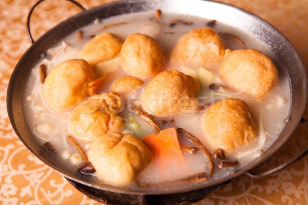 Kínai finom étel disznóhús leves wok Stock fotó © wxin