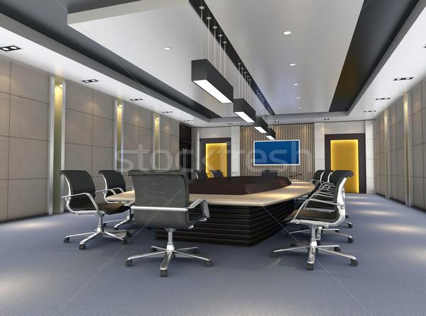 3D tárgyalóterem számítógép generált kép modern Stock fotó © wxin