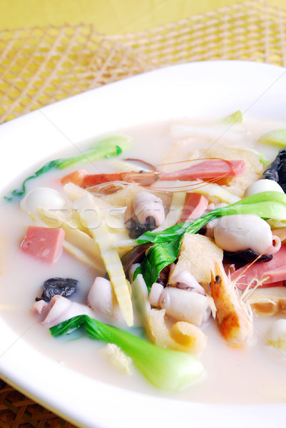 food in china-- bamboo shoots and squid soup Stock photo © wxin