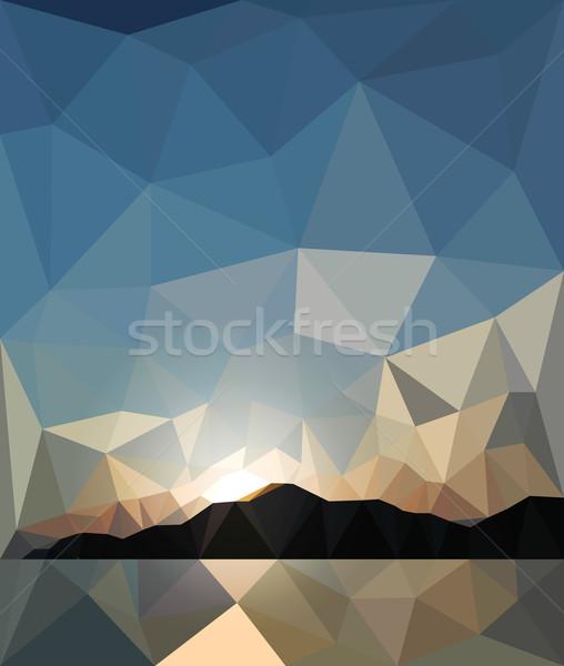 Pôr do sol estilo origami céu sol natureza Foto stock © wywenka
