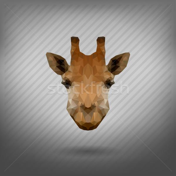 Abstrato triângulo girafa cara floresta silhueta Foto stock © wywenka