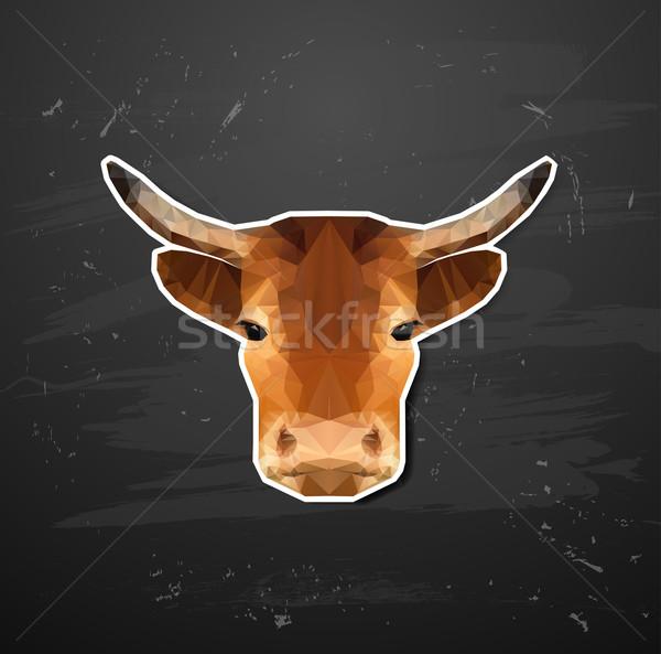 Vetor vaca estilo origami abstrato triângulo Foto stock © wywenka