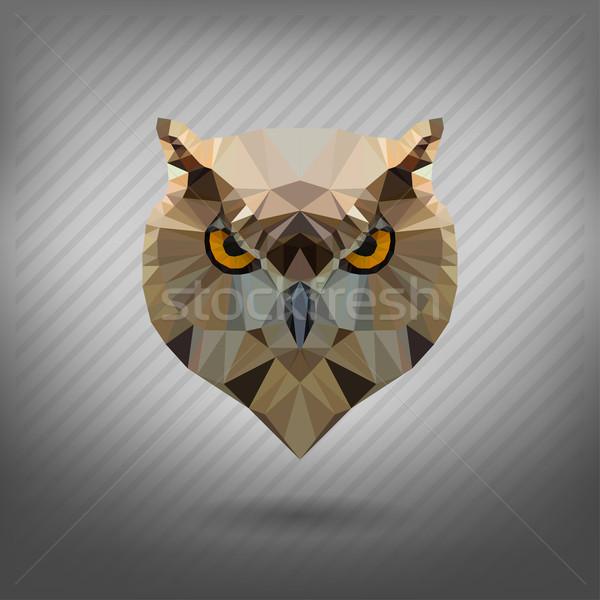 Abstrato triângulo coruja papel cara floresta Foto stock © wywenka