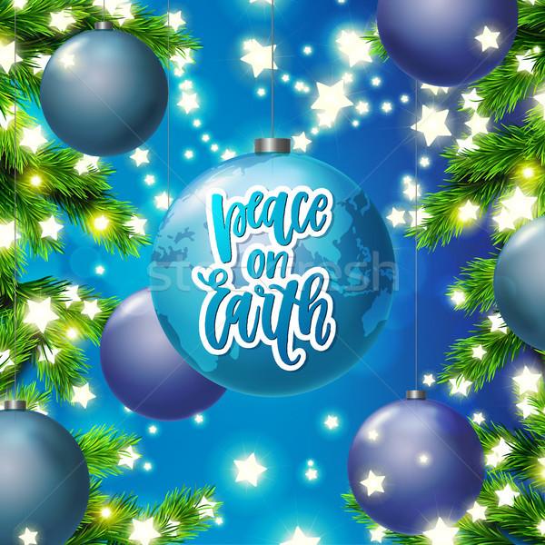 Cartão árvore estrela luzes Foto stock © wywenka
