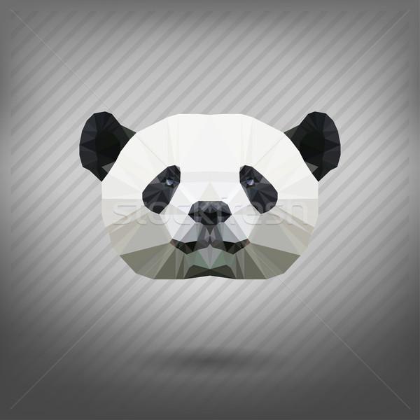 Abstract driehoek panda hond bos ontwerp Stockfoto © wywenka