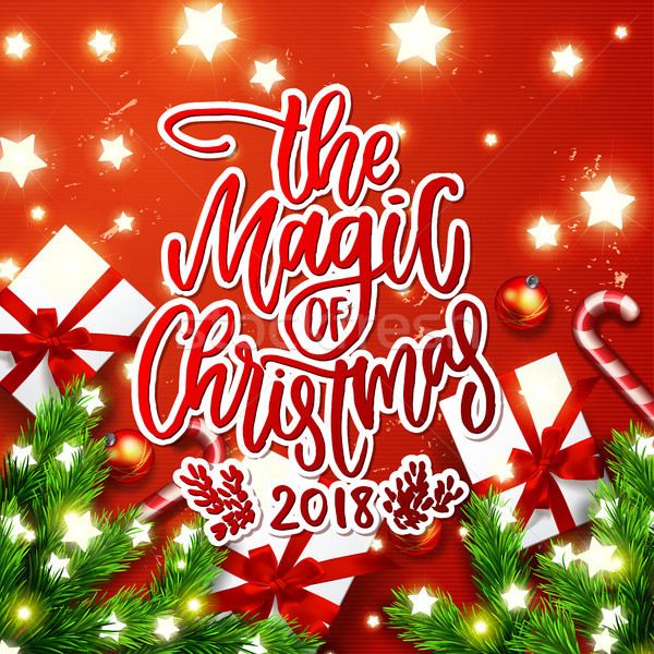 Caligrafia magia natal cartão Foto stock © wywenka