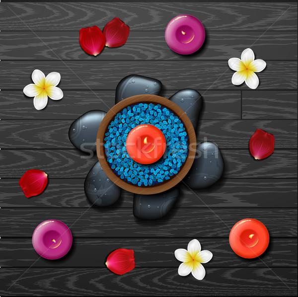Azul sal do mar estância termal tropical flores pedra Foto stock © wywenka