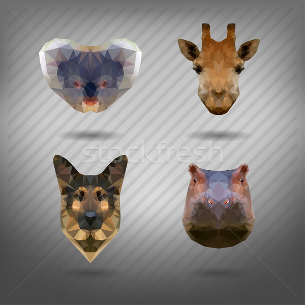 set of animals in the style of origami Stock photo © wywenka