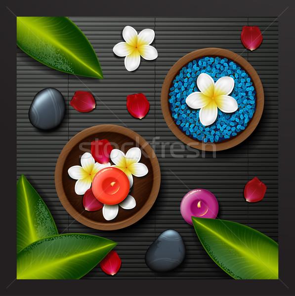 Kék tengeri só fürdő trópusi virágok kő Stock fotó © wywenka