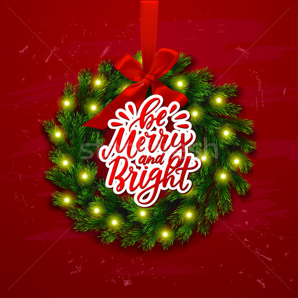 greeting card with wreath  Xmas vector background. Hand drawn calligraphy. concept handwritten be m Stock photo © wywenka