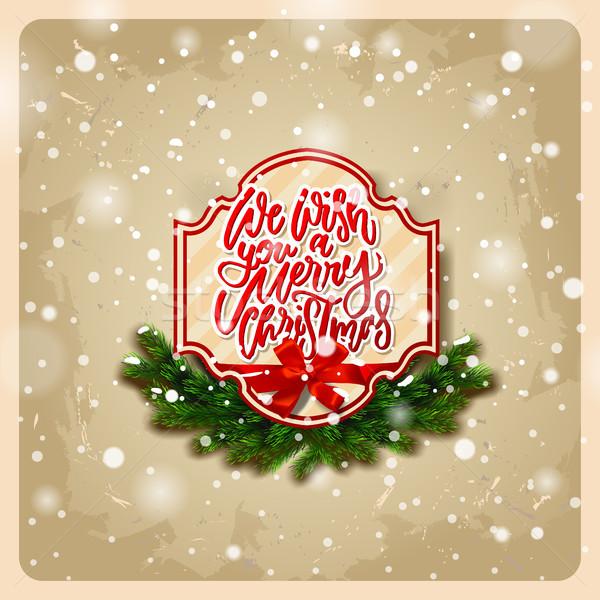 Desejo alegre natal cartão coroa Foto stock © wywenka