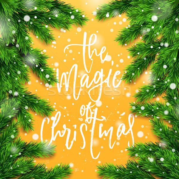 Cartaz escove caligrafia magia natal Foto stock © wywenka