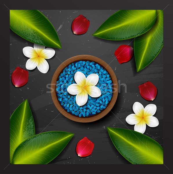 Mavi deniz tuzu spa tropikal çiçekler taş Stok fotoğraf © wywenka