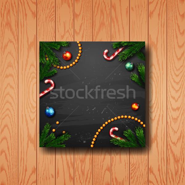 Decorado natal coroa cartão feliz ano novo Foto stock © wywenka