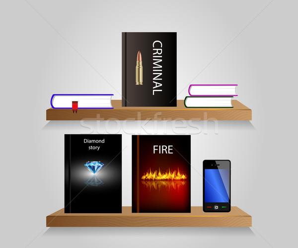 Prateleira de livros vetor livros internet biblioteca moderno Foto stock © X-etra