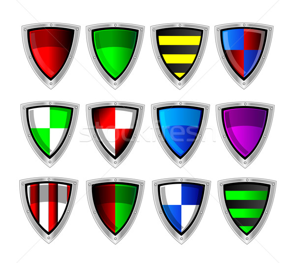 Vector set of colorful shields Stock photo © X-etra