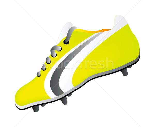 Futball cipő izolált fehér háttér zöld Stock fotó © X-etra
