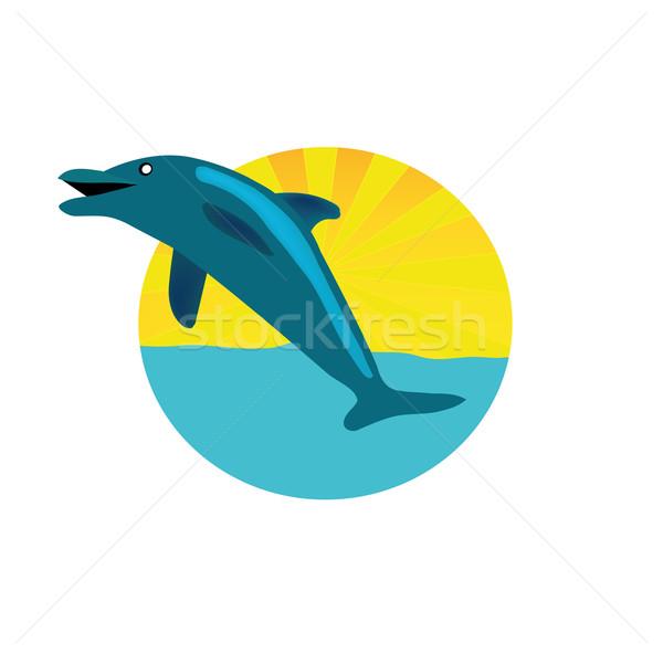 Círculo logotipo golfinho bom ilustração isolado Foto stock © X-etra