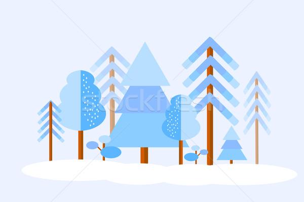 Foto stock: Vector · invierno · forestales · árboles · nieve · línea