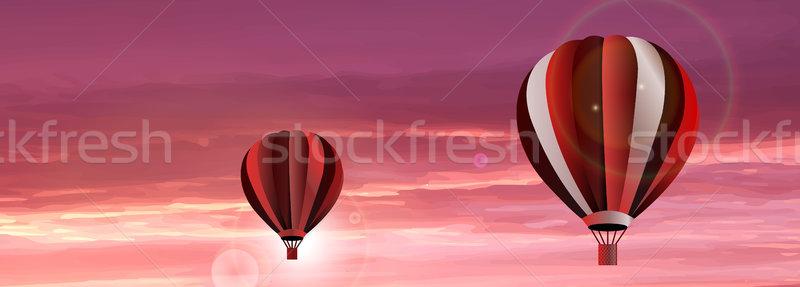 Vektor hőlégballon égbolt absztrakt piros naplemente Stock fotó © X-etra