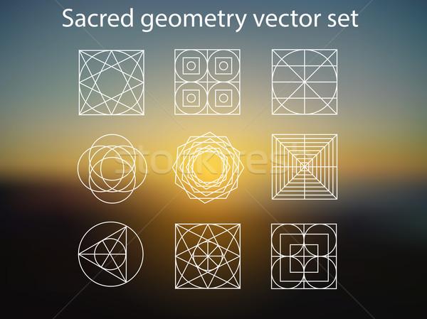 Szent mértan vektor szett vallás alkímia Stock fotó © X-etra