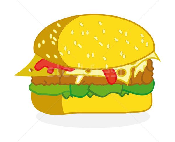 Hamburger szép illusztráció izolált zöld kenyér Stock fotó © X-etra