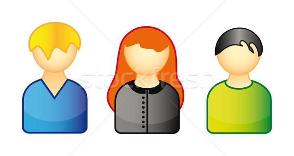 Conjunto ícones pessoas ilustração isolado branco Foto stock © X-etra