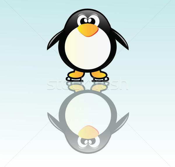 Pinguim patinar bom ilustração feliz patins Foto stock © X-etra