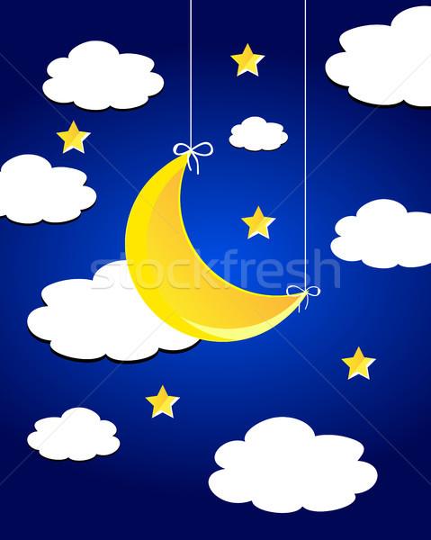 Vektor éjszakai ég hold csillagok felhők égbolt Stock fotó © X-etra
