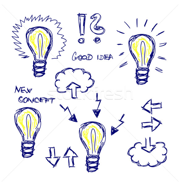Vektor kézzel rajzolt ikonok villanykörték ötlet elszigeteltség Stock fotó © X-etra