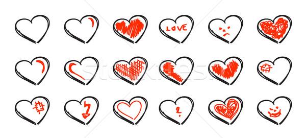 Szett kézzel rajzolt szívek izolált fehér szeretet Stock fotó © X-etra