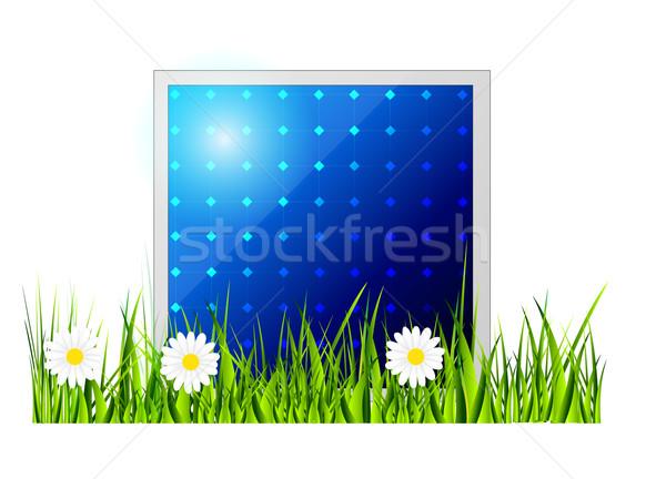 Vektor napelem ikon elszigeteltség fehér zöld fű Stock fotó © X-etra