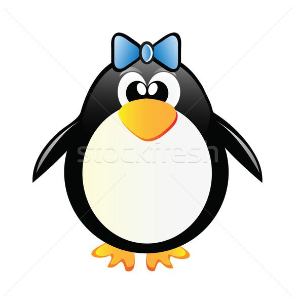 Foto d'archivio: Pinguino · ragazza · nice · isolato · bianco · neve