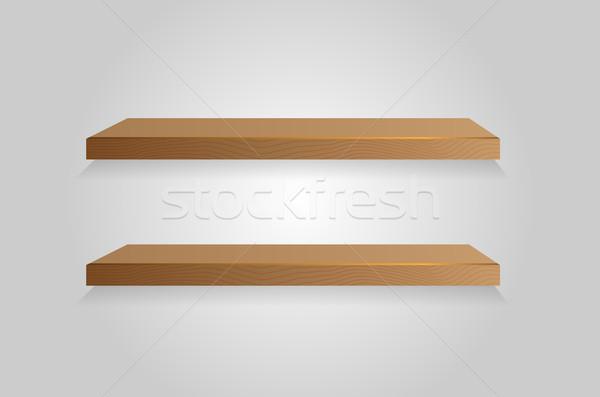 Vettore shelf vuota bianco impiccagione muro Foto d'archivio © X-etra