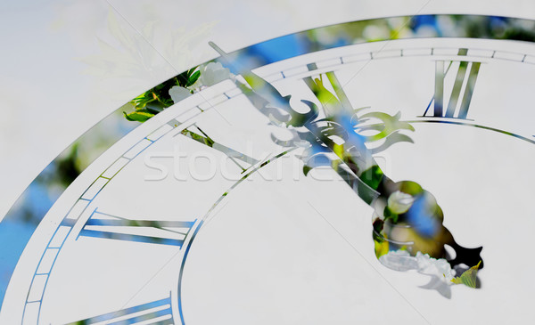 Clock. Spring is coming. Stock photo © X-etra