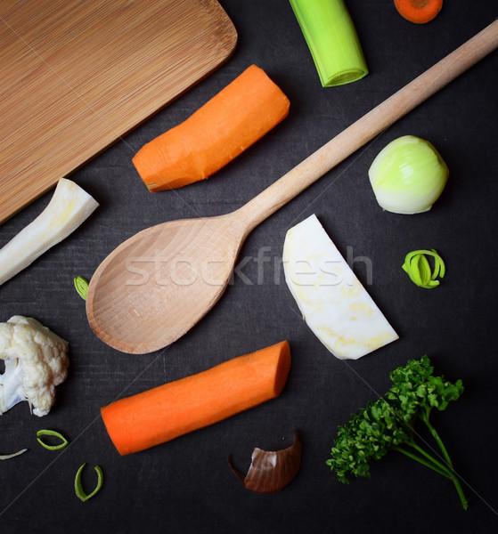 Cibo vegetariano ingredienti preparazione zuppa buio legno Foto d'archivio © X-etra