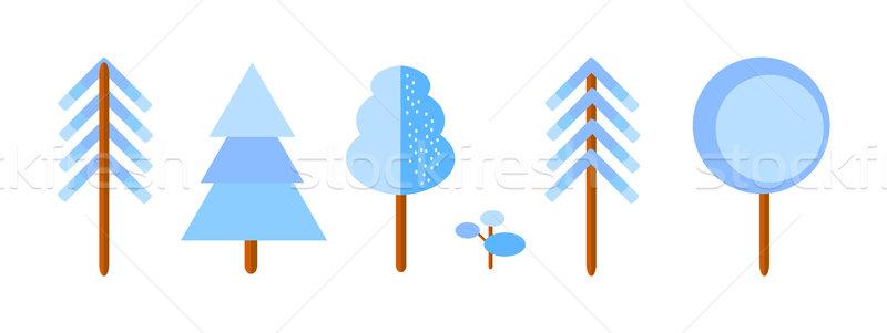 Vektor szett tél fák ikonok izolált Stock fotó © X-etra